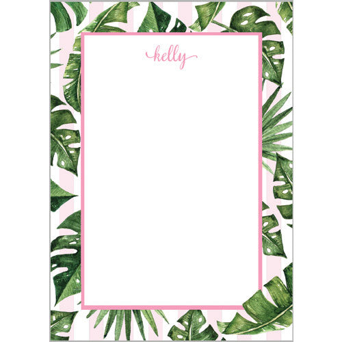 Palm Leaves + Cabana Stripes Personalized Notepad