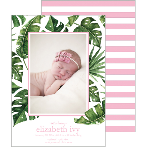 Palm Leaves + Cabana Stripes Photo Birth Announcement Card