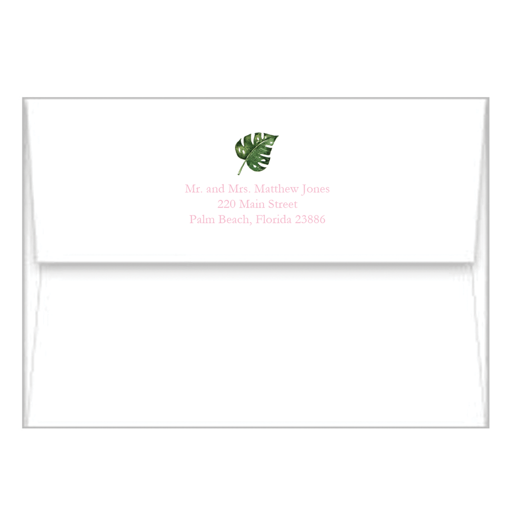 Palm Leaves + Cabana Stripes Personalized Flat Notecards