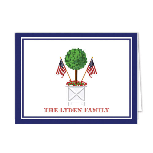 Patriotic Topiary Personalized Folded Notecards