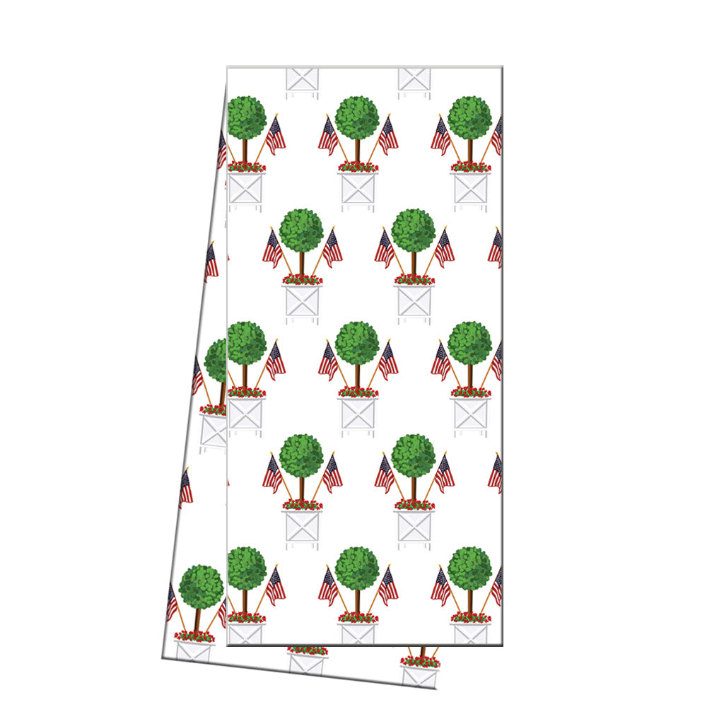 WH Hostess Cotton Tea Towel | Patriotic Topiary Tree Pattern