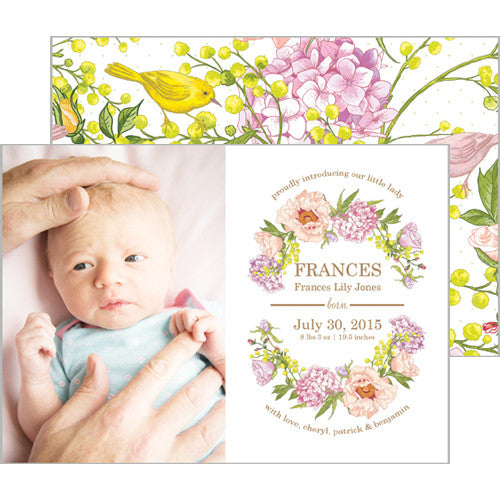 Peach and Yellow Floral Garden Photo Birth Announcement