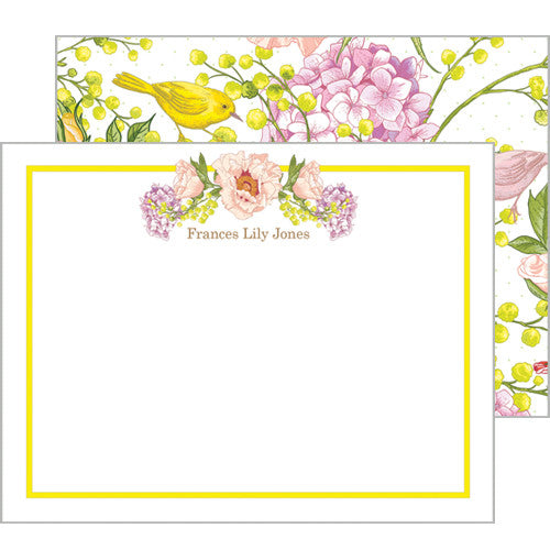 Peach and Yellow Floral Garden Personalized Flat Notecards