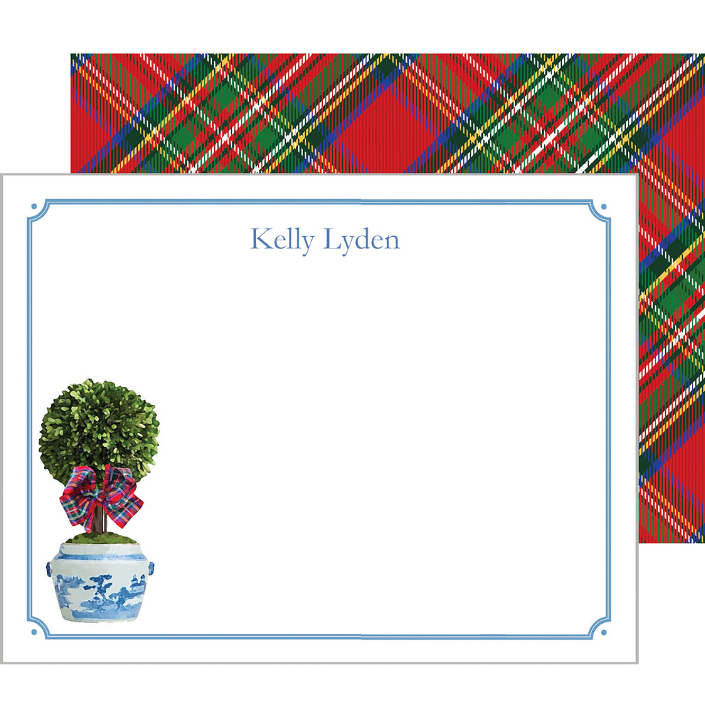 Tartan Topiary Personalized Flat Notecard