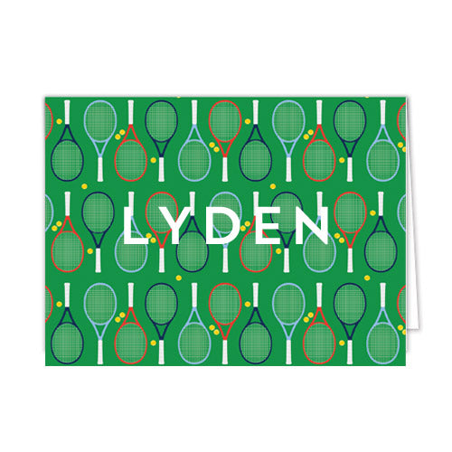 Tennis Racquets Personalized Folded Notecards