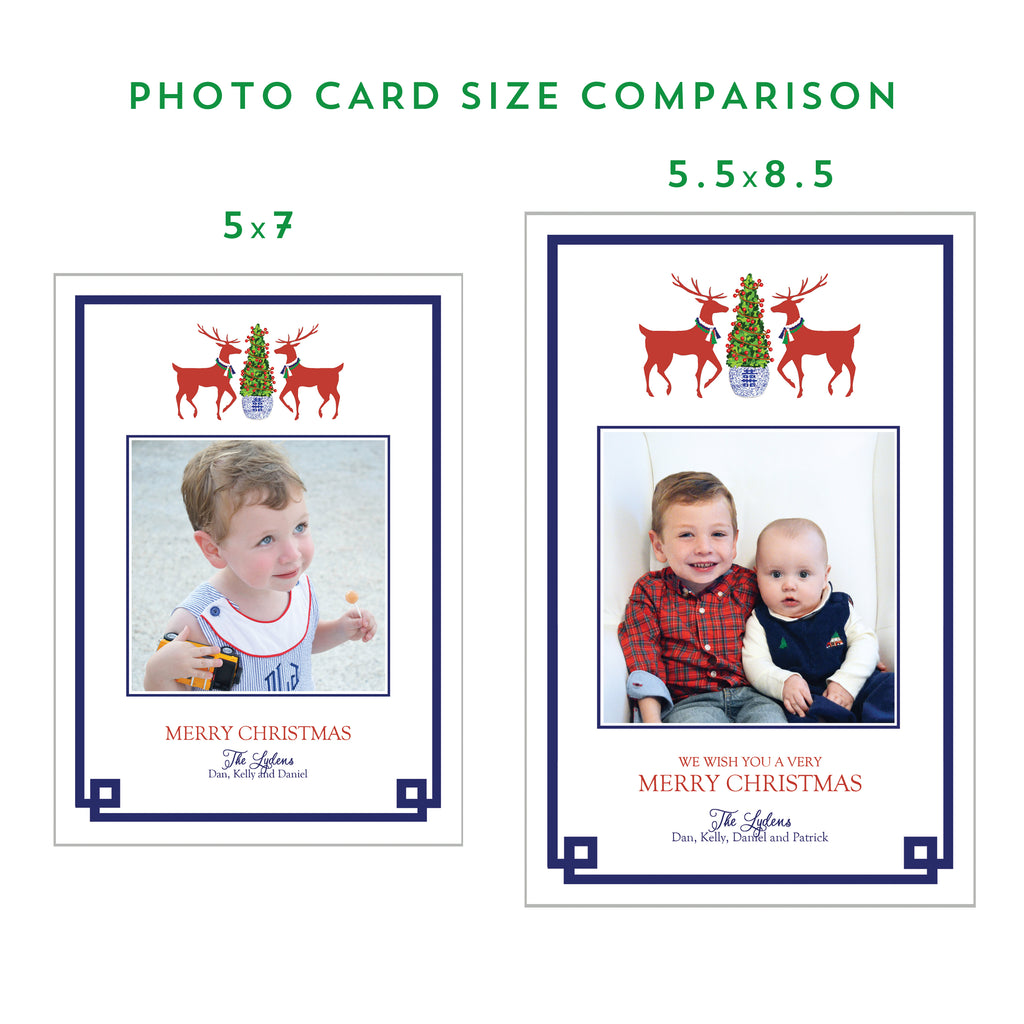Navy Blue and Green Windowpane Holiday Photo Card