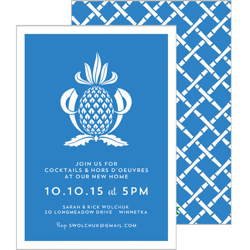 Pineapple Party Invitation - Cornflower