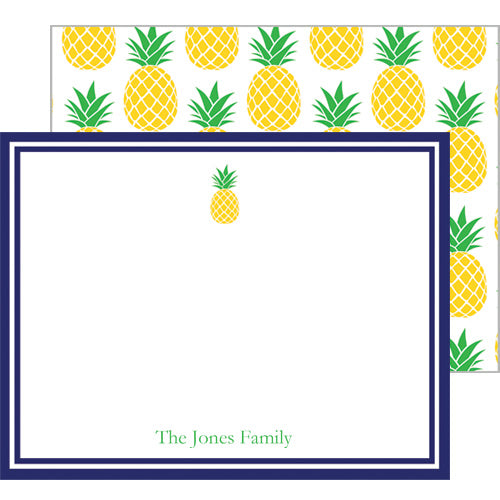 Preppy Pineapple Personalized Flat Notecards