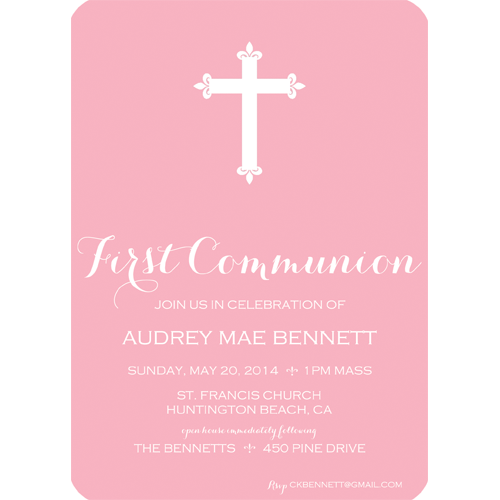 Pink Cross First Communion Invitation