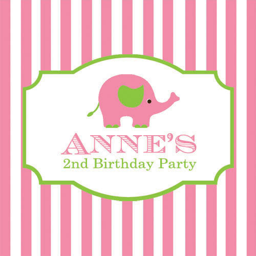"2.5"" Pink Elephant Stripe Stickers"