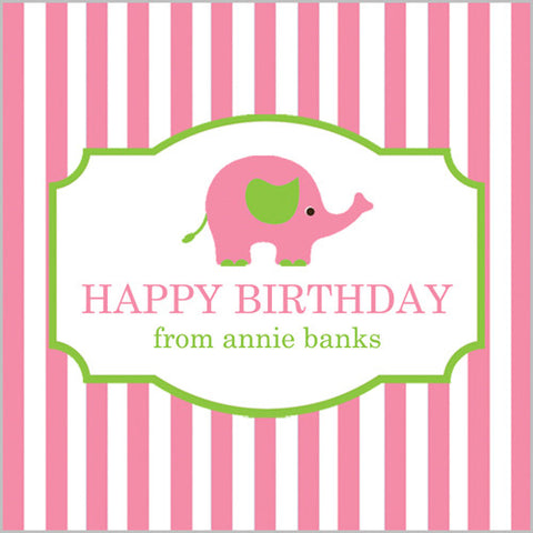 Pink Elephant Gift Sticker