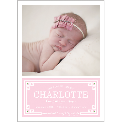Pink Greek Key Plaque Photo Birth Announcement Card