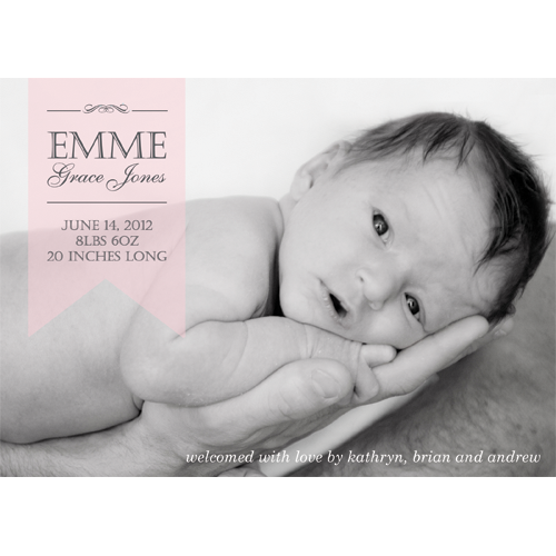 Pink Sheer Ribbon Horizontal Photo Birth Announcement Card