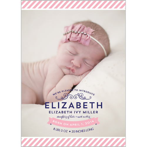 Preppy Pink Stripe Photo Birth Announcement Card