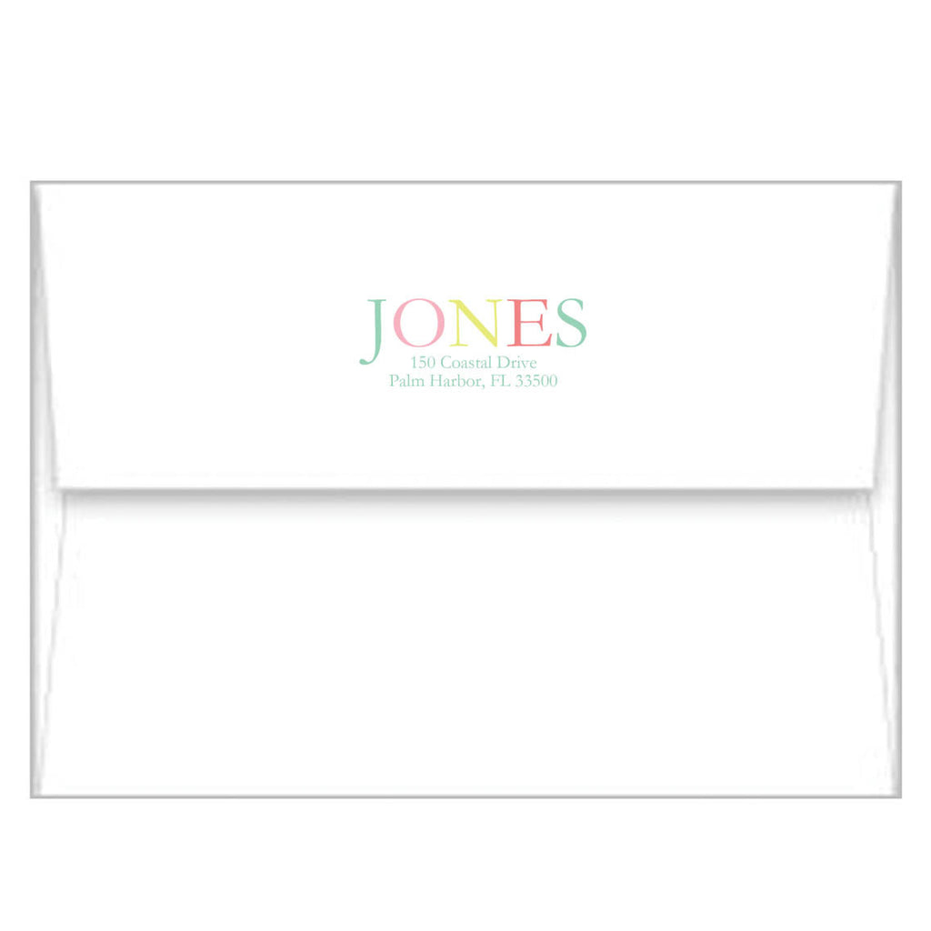 Pink Colorful Stripes Personalized Flat Notecards