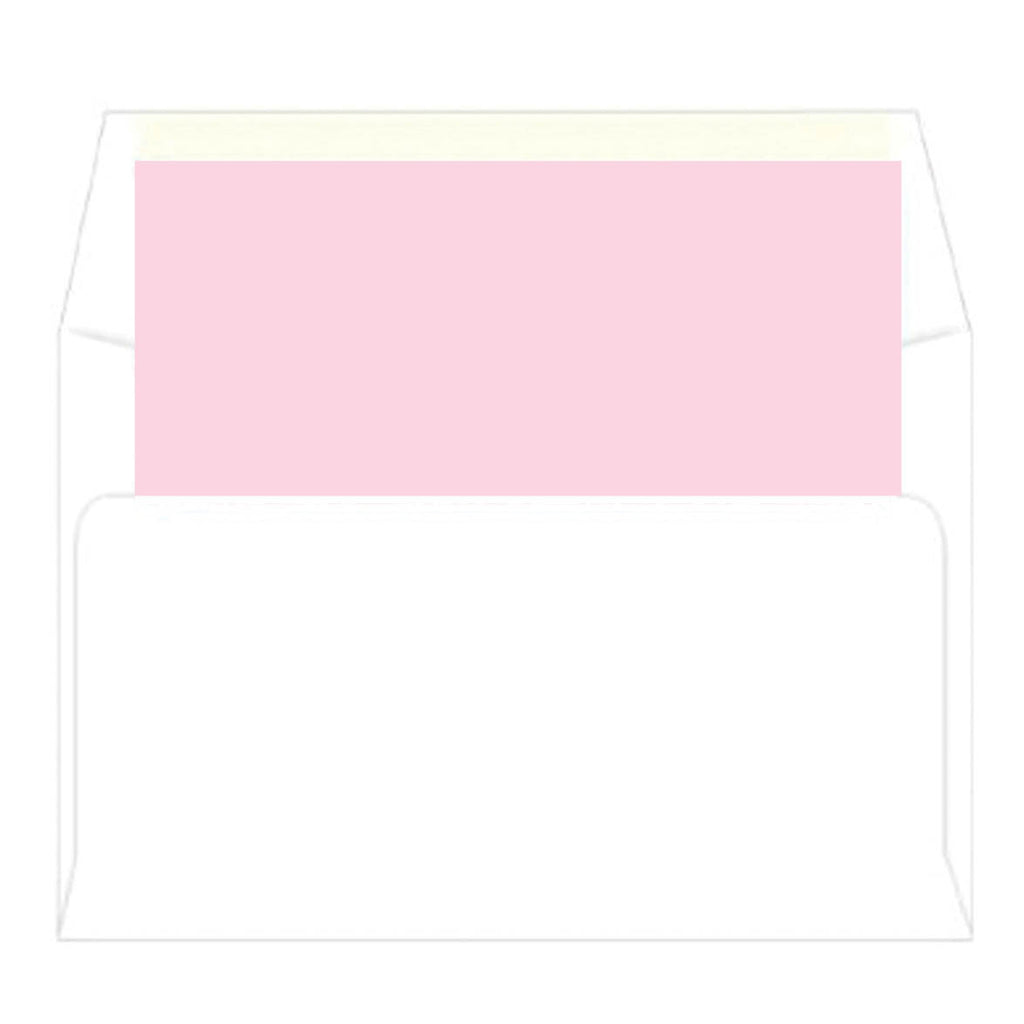 Pink + Green Greek Key Border Personalized Flat Notecards