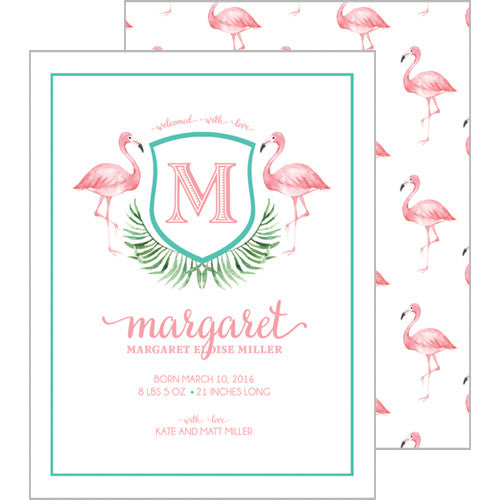 Watercolor Pink Flamingo A2 Birth Announcement Card