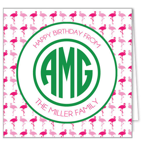 Pink Flamingo Monogram Enclosure Cards + Envelopes | More Colors