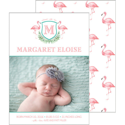 Watercolor Pink Flamingo Photo Birth Announcement Card