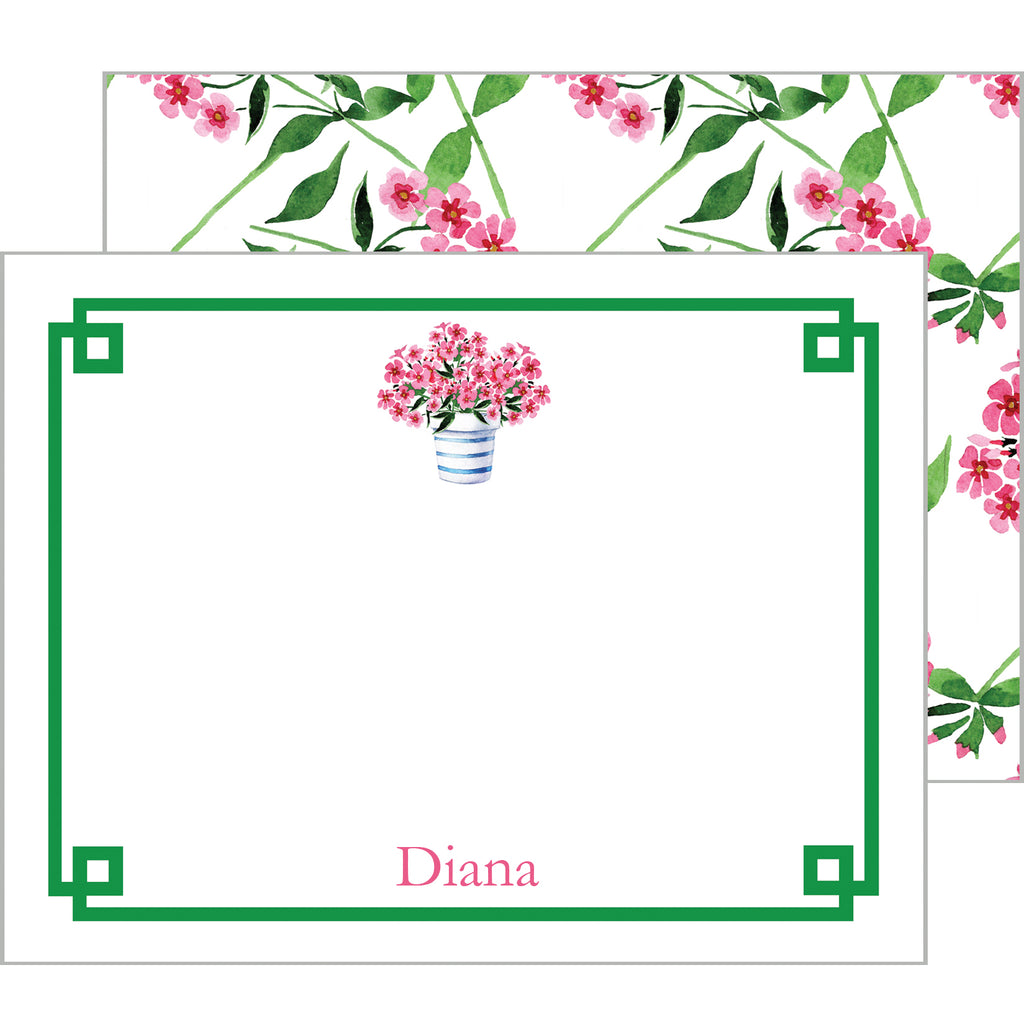 Pink Geraniums Flower Pot Personalized Flat Notecards