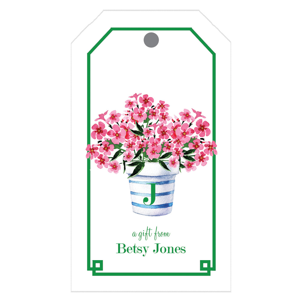 Pink Geraniums Flower Pot Personalized Gift Tags
