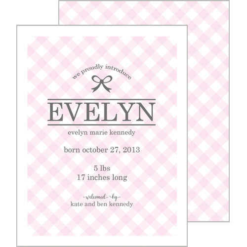 Pink Gingham A2 Birth Announcement Card