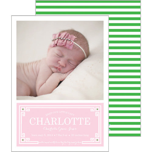 Pink + Green Greek Key Plaque Photo Birth Announcement Card
