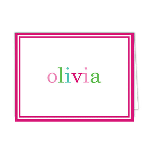 Pink Colorful Text Personalized Folded Notecards