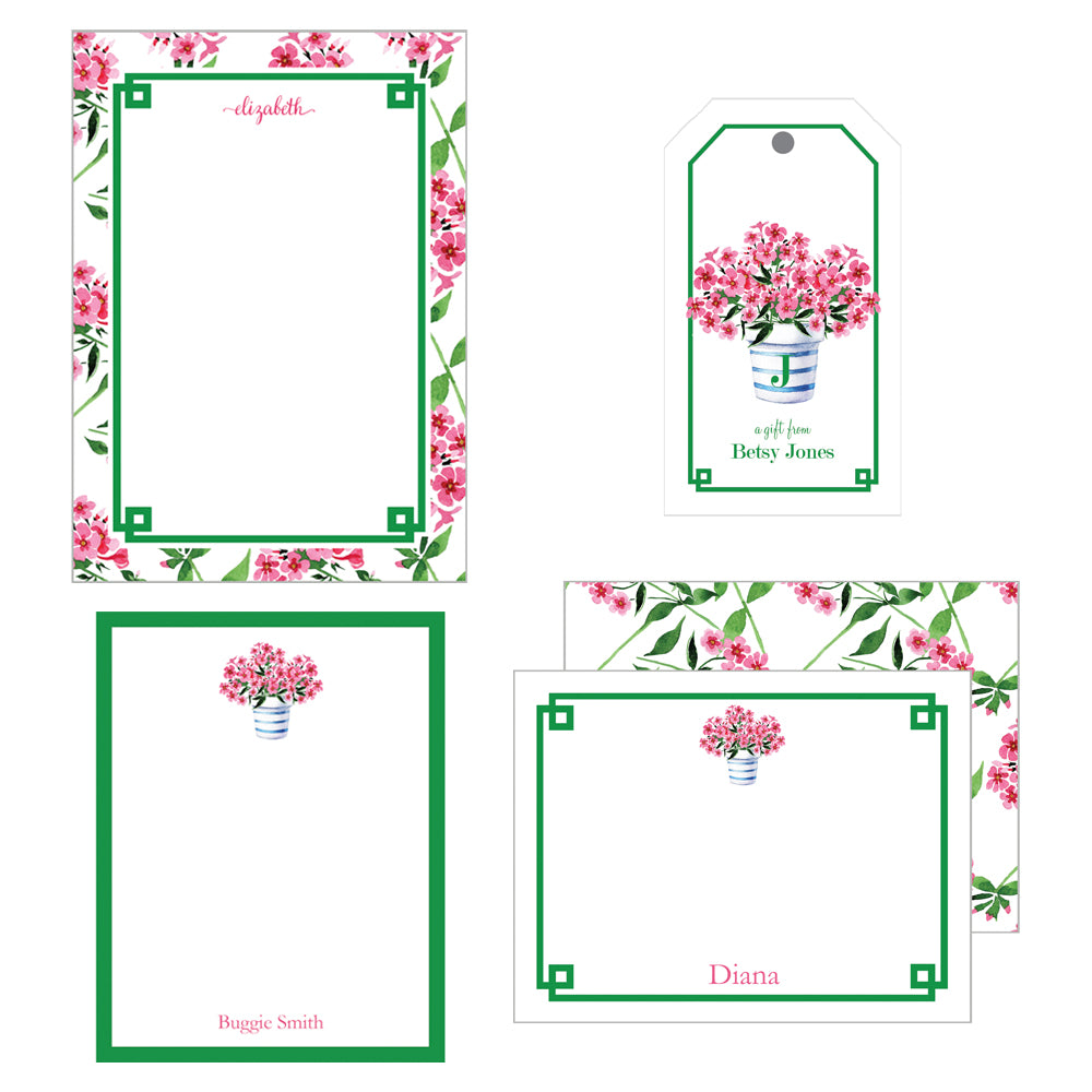 Pink Geraniums Stationery Gift Set