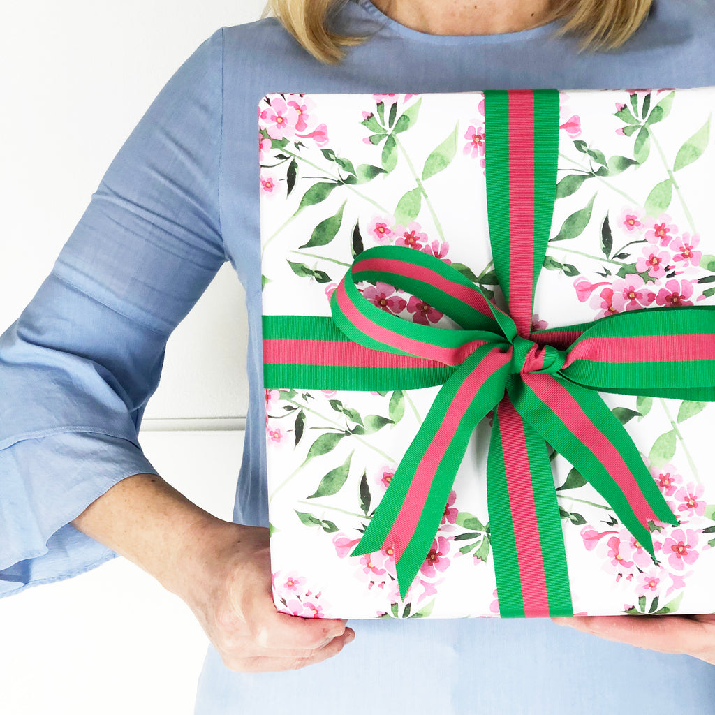 Pink Geraniums Floral Gift Wrap Sheets