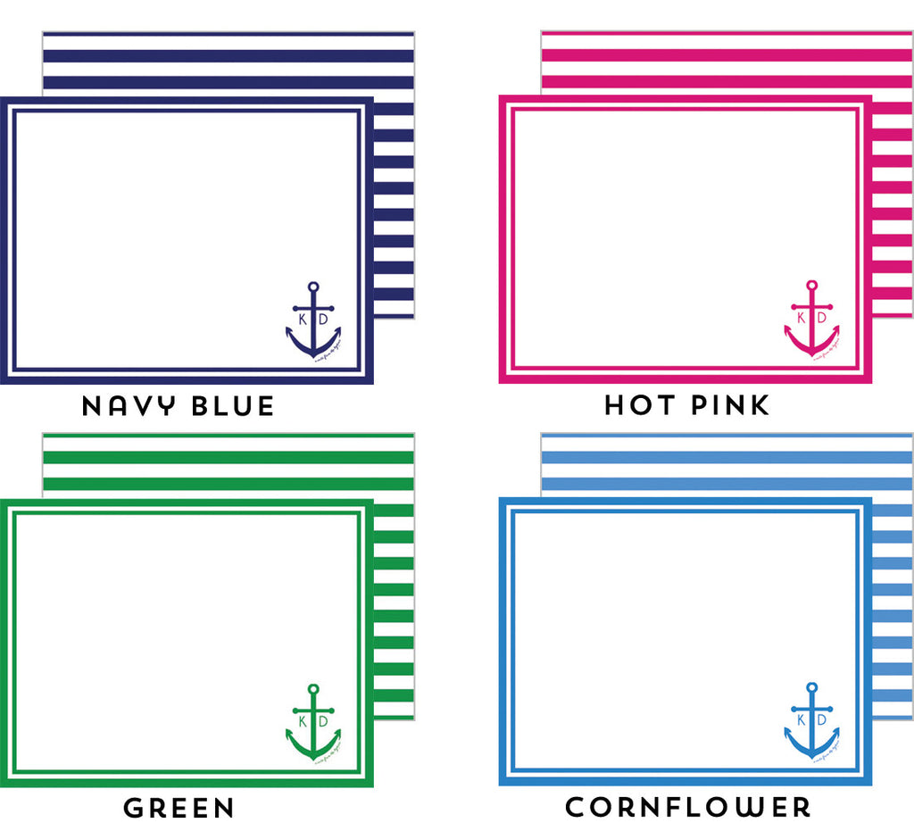 Preppy Anchor Personalized Flat Notecard - More Color Options