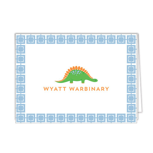 Preppy Dino Personalized Folded Notecards