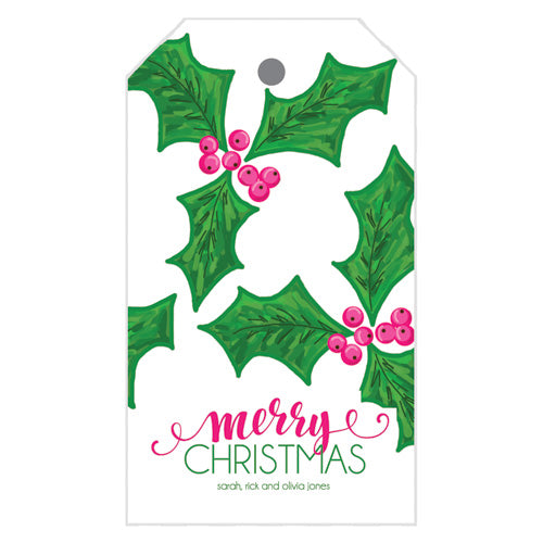 Preppy Holly Christmas Gift Tags