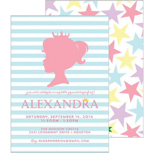 Princess Silhouette Double-Sided Invitation