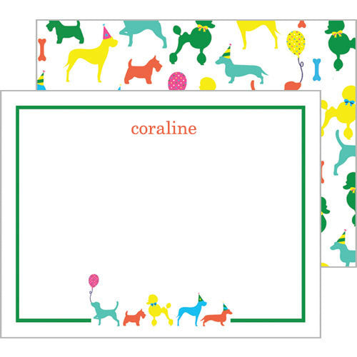 Puppy Party Personalized Flat Notecards