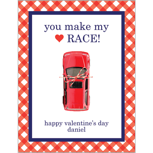 Racecar Valentines for Kids