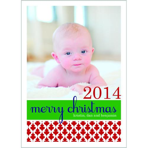Red Ornaments Holiday Photo Card Wholesale