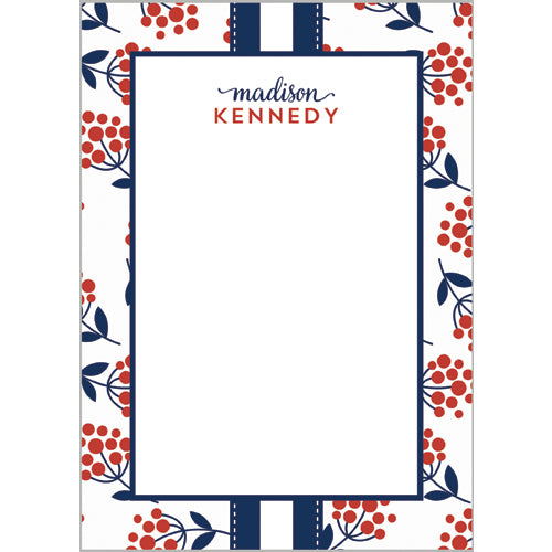 Red Berries + Navy Stripes Personalized Notepad