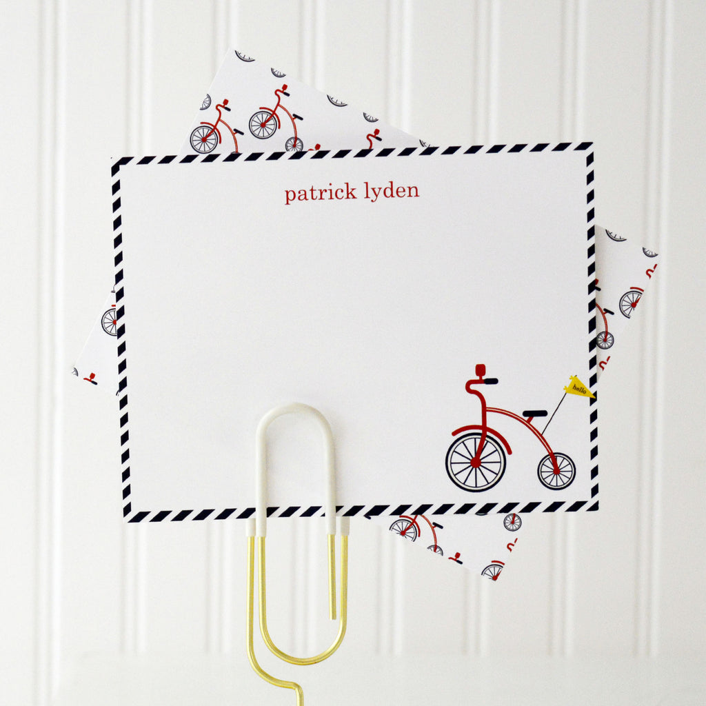 Red Bicycle Personalized Flat Notecards