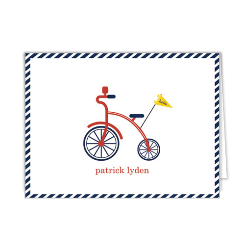 Red Bicycle Personalized Folded Notecards