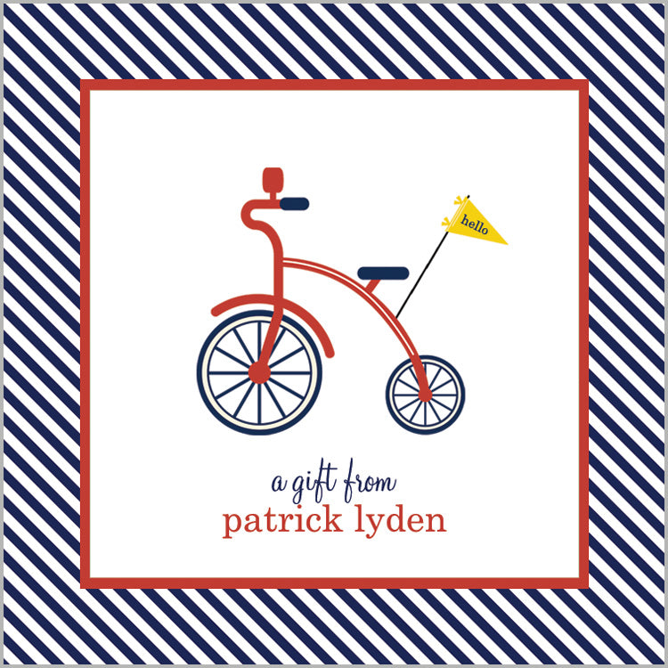 Red Bicycle Gift Sticker | Set of 24
