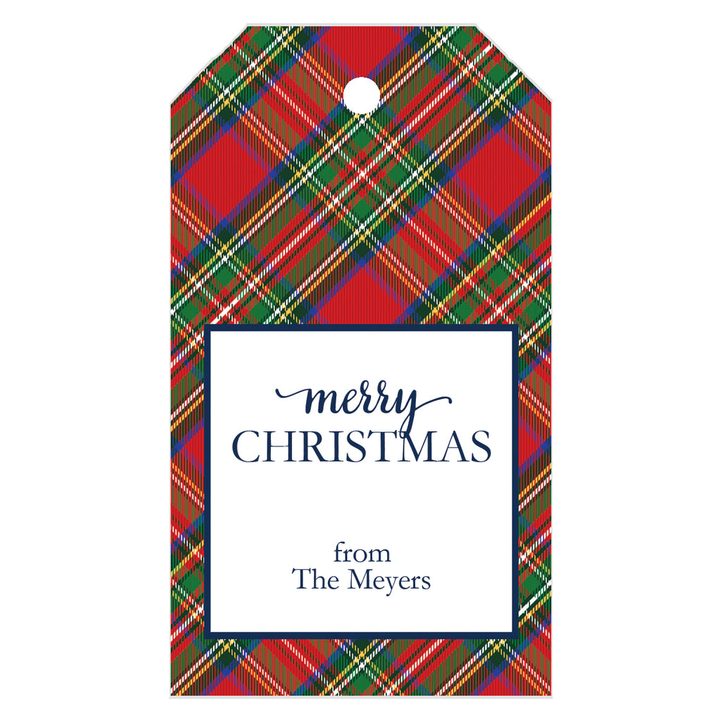Red Tartan Plaid Christmas Gift Tags