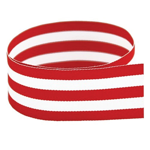 Preppy Striped Grosgrain Ribbon | Red