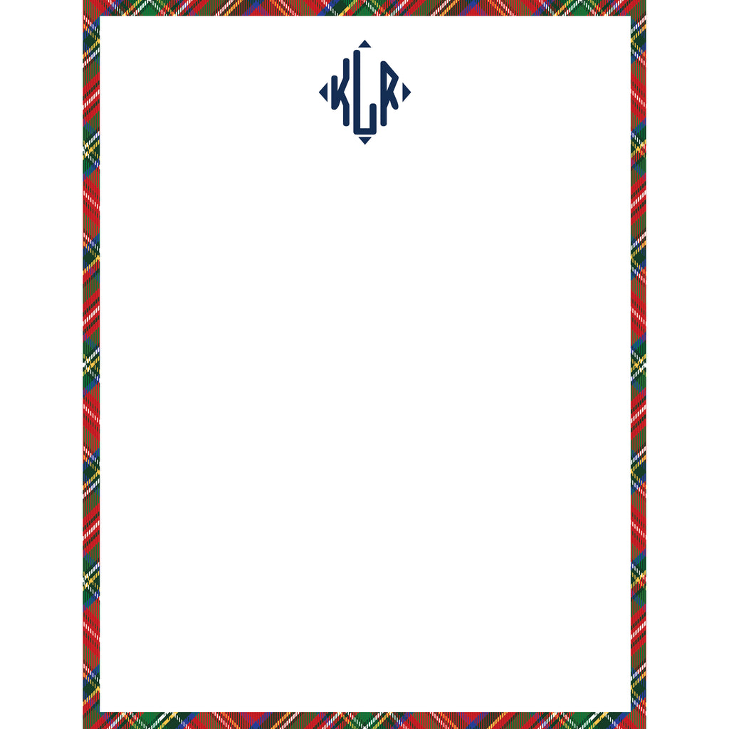 Red Tartan Plaid Personalized Notepad