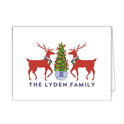 Reindeer Boxwood Christmas Personalized Folded Notecards