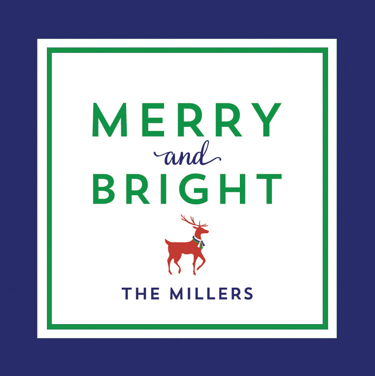 Merry & Bright Reindeer Christmas Gift Sticker | Set of 24