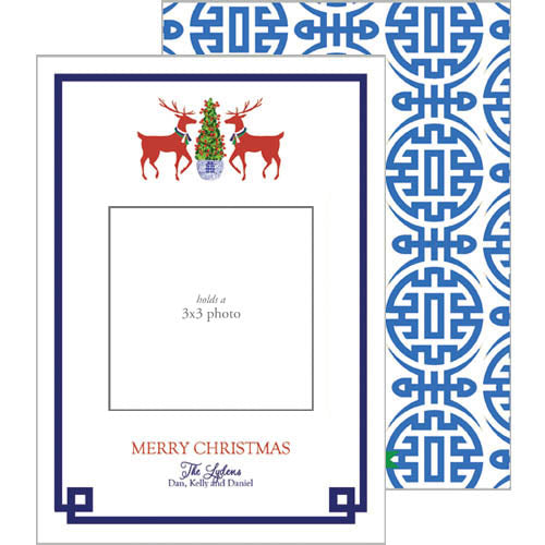 Photo Mount Holiday Photo Card | Reindeer Boxwood