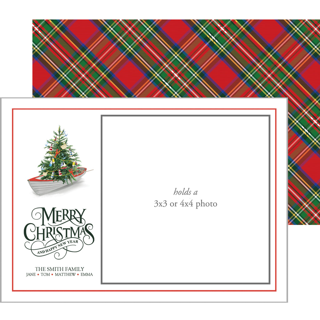 Photo Mount Holiday Photo Card | Nautical Christmas Tree in a Row Boat