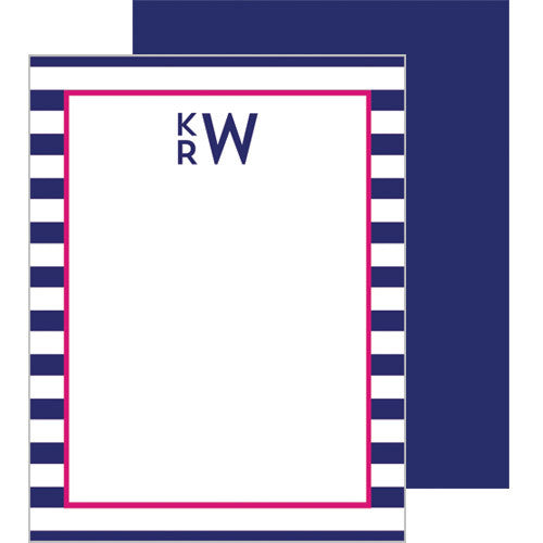 Rugby Stripe Monogram Personalized Flat Notecards - More Colors