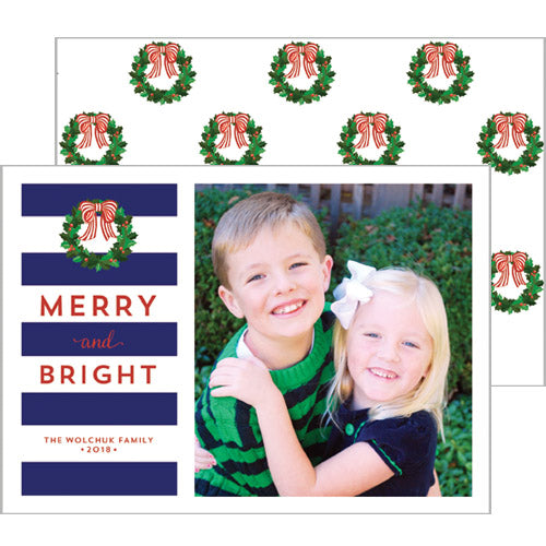 Christmas Rugby Stripe Photo Card